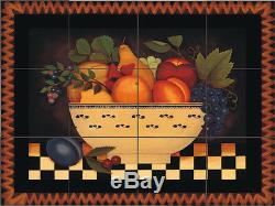 Fruit Bowl Decorative Tile Mural Custom Back Splash Ceramic Artistic Farmhouse