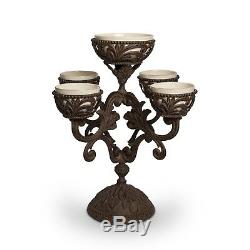GG Collection Gracious Goods 22.5H Acanthus Epergne, 5 Ceramic Holders