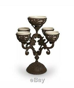 GG Collection Gracious Goods Acanthus Epergne Metal with Ceramic bowls