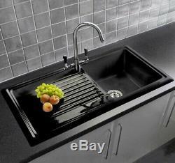 GRADE A Reginox RL404CB 1.0 Bowl Reversible Inset Ceramic Sink Black
