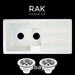 Genuine RAK 1.5 Bowl Ceramic Kitchen Sink FREE Basket Strainer Wastes GOSINK1V2