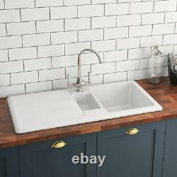 Genuine RAK 1.5 Bowl White Ceramic Kitchen Sink & Reversible Drainer GOSINK1V2