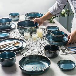 Glazing Ceramic European Creative Kitchen Dinner Set Bowls Plates Spoons Blue