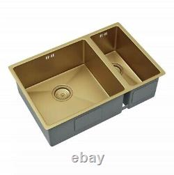 Gold 1.5 Bowl Inset/Undermounted Stainless Steel Kitchen Sink & Waste