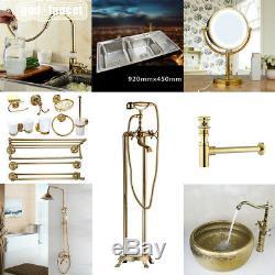 Gold Kitchen Sink Mixer Faucet Bathtub Shower Taps Basin Mirror Wall Holder Set