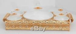 Gold handle & metal serving tray with 4 ceramic condiment bowls with round platt