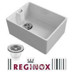 Graded Reginox Belfast 600mm 1.0 Bowl White Gloss Ceramic Kitchen Sink & Waste