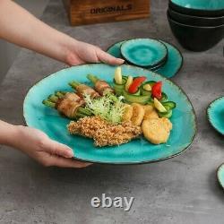 Green Aqua 33pc Set Dinner Stoneware Serving Dish Dessert Plates Cereal Bowls