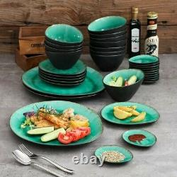 Green Coco 33pc Set Dinner Stoneware Serving Dish Dessert Plates Cereal Bowls