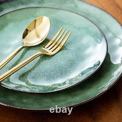 Green Porcelain Set 12pcs 4person Set Dinner Stoneware Dish Plates Cereal Bowls