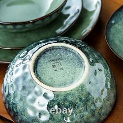 Green Porcelain Set 24pcs 8 person Set Dinner Stoneware Dish Plates Cereal Bowls