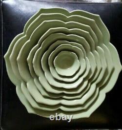 HTF Whitney Smith Pottery/ Magenta-Set/8 Lotus Flower Nesting Bowls-Celadon-NEW