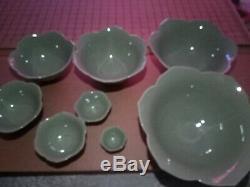 HTF Whitney Smith Pottery/ Magenta-Set/8 Lotus Flower Nesting Bowls-Celedon-NEW