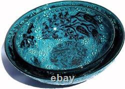 Handmade Turkish Ceramic Pottery Set of 2 Extra Large Serving Bowls (Green/Blue)