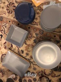Ikea Dinera Dinnerware Set Matte Blue Grey, Including 8 RARE Large Square Bowls