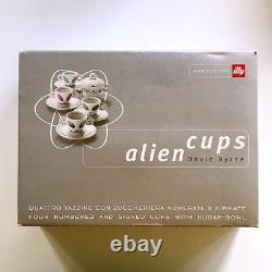 Illy Collection Alien Cups David Byrne 4 Numbered & Signed Cups with Sugar Bowl