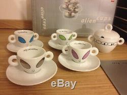 Illy Espresso Collection Alien Cups by David Byrne 4 Mocha Cups +Sugar Bowl 2001