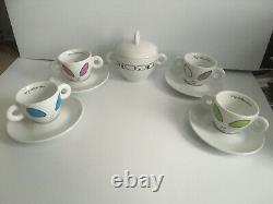 Illy Espresso Collection Alien Cups by David Byrne 4 Mocha Cups +Sugar Bowl 2001