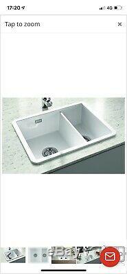 Inset 1.5 Bowl Ceramic Kitchen Sink White Metro