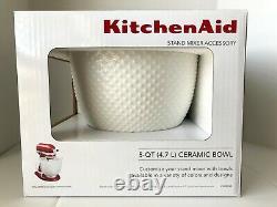 KitchenAid 5 Quart White Hobnail Ceramic Bowl (KSM2CB5THB) for Stand Mixer NEW