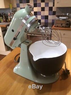 Kitchenaid Mixer In Pistachio & Bespoke Black Ceramic Bowl Unusual & Stunning