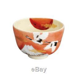 Kyo-yaki Matcha bowl KINSAI-SUNRISE-CRANE with box