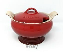 LE CREUSET (6 piece) Soup Set, CERISE Red Tureen with Lid & 4 Bowls, NEW in Box