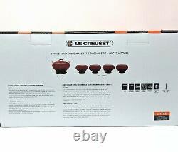 LE CREUSET Soup Set, Volcanic Flame Orange Serving Bowl with Lid & 4 Bowls NEW