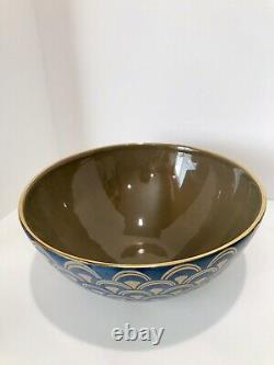 L'Objet Fortuny Papieo Blue and Gold Ceramic Bowl Large 12 Diameter X 6 Ht