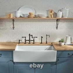 Large Single Bowl Farmhouse Belfast Butler White Ceramic Sink 840mm Wide