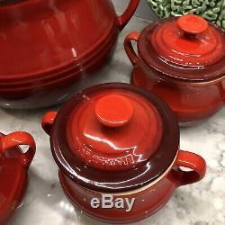 Le Creuset 3.5 QT Soup Bean Stew Pot Lid & Handles + 4 Lidded Individual Bowls
