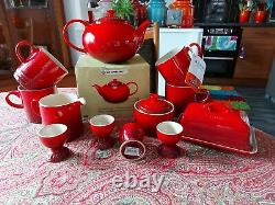 Le Creuset Breakfast Set. Mugs, Egg Cups, Milk Jug, Sugar Bowl & Butter Dish
