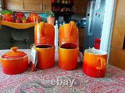 Le Creuset Milk Jug, Sugar Bowl & 4 Mugs in Volcanic Orange