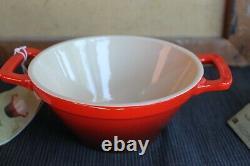 Le Creuset Stoneware Cerise Cassoulet x4 26 oz Noodle Bowls NEW RETIRED