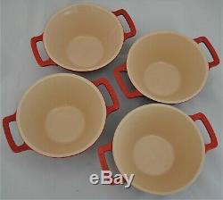 Le Creuset Stoneware Cerise Red Cassoulet Soup Noodle Bowl Set Of 4 RARE NWOB