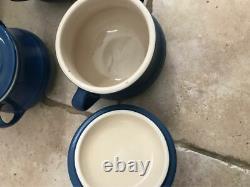 Le Creuset Stoneware Soup casserole dishes blue colour 6 bowl set A+++ condition