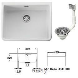Leisure Belfast Single Bowl Ceramic Sink CBL595WH 60cm Incl Chrome Waste Kit