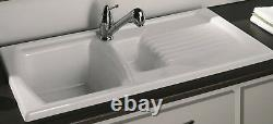 Luna Ceramic Kitchen Sink 1.5 Bowl Pure White Including Waste And Plumbing
