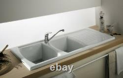 Luna Ceramic Kitchen Sink 2 Bowl Pure White Including Waste And Plumbing