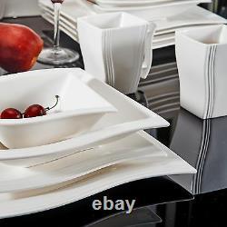 MALACASA FLORA 32PCS Ceramic Dinner Set Porcelain Home Kitchen Dinnerware Plates