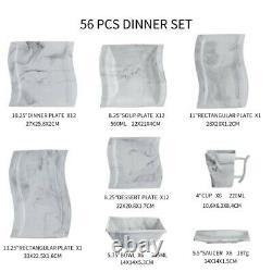 MALACASA FLORA 56X Ceramic Porcelain Dinner Set Plates Bowls Cups Home Tableware