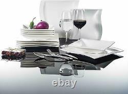MALACASA FLORA Ivory White Porcelain Tableware Set Kitchen Dinner Plate Bowl Mug