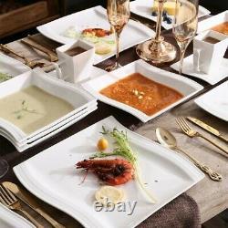 MALACASA FLORA White 60PCS Dinner Set Porcelain Kitchen Dinnerware Plate Mugs