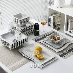 MALACASA Flora 26 Tableware Kit Dessert Dinner Service Plates Soup Bowls Grey UK
