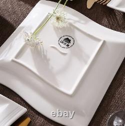 MALACASA Flora 36pcs White Square Dinner Set Kitchen Service Plates Cereal Bowls