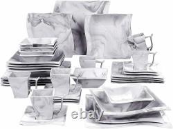 MALACASA Flora 36x Grey Dinner Set Kitchen Porcelain Plates Cups Saucers Bowls