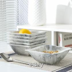 MALACASA Flora 36x Marble Grey Dinner Set Porcelain Plates Cups Saucers Bowls