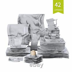MALACASA Flora 42 Kitchen Dinnerware Set Grey Plates Mugs Saucers Bowls Egg Cups