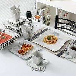 MALACASA Flora 42x Grey Dinner Set Porcelain Mugs/Saucers Plates Bowls Egg Cups