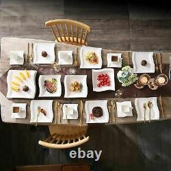 MALACASA Flora 56pcs Ivory White Dinner Set Porcelain Plates Cup Saucer Bowls